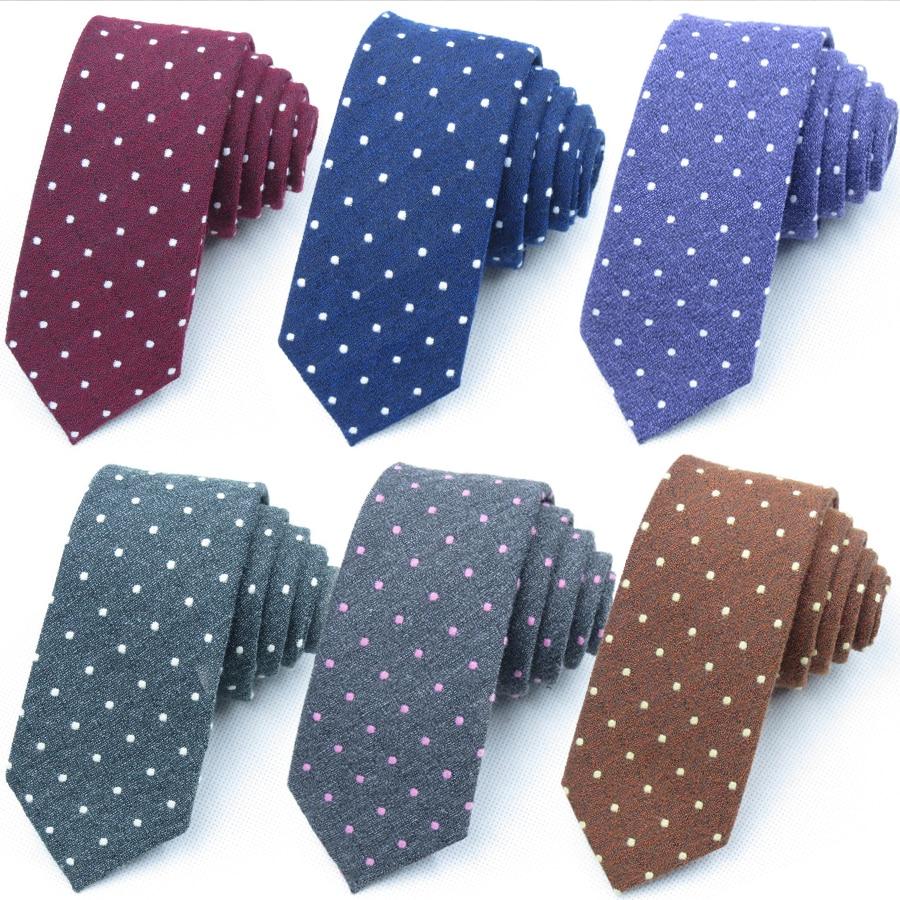 Mens Cotton Dot Ties for Men Fashion Neck Tie Classic Man Slim Necktie Gift Wedding Business Suit Designer Handmade Formal Tie недорого