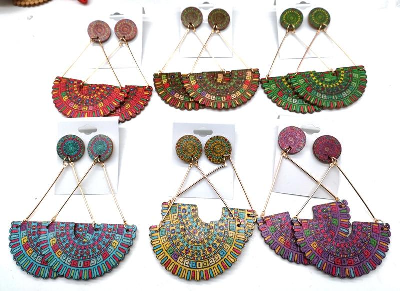 printing african wooden earrings