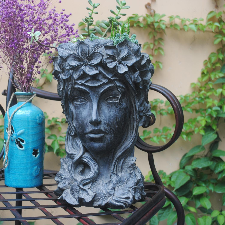 Vintage arte decoración del hogar Venus diosa estatua flor arreglo creativo Flor de retrato de pote de flor