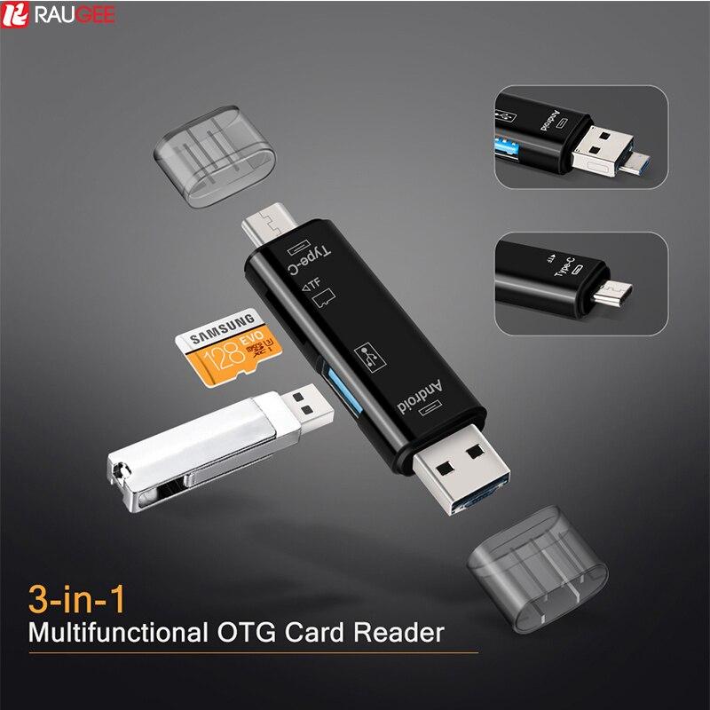 Raugee tipo C y Micro USB OTG adaptador de tarjeta 3 en 1 USB-C lector Flash Stick TF leer enchufe para teléfono móvil PC Mac ordenador