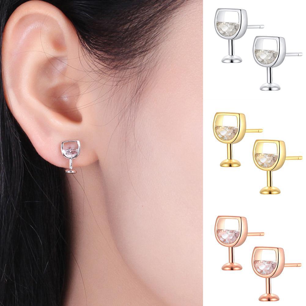 Moda simples brincos femininos oco vidro de vinho cúbico zircônia orelha brincos brincos jóias presentes novo