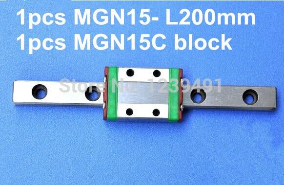 1pcs MGN15 L200mm linear rail + MGN15C carriage