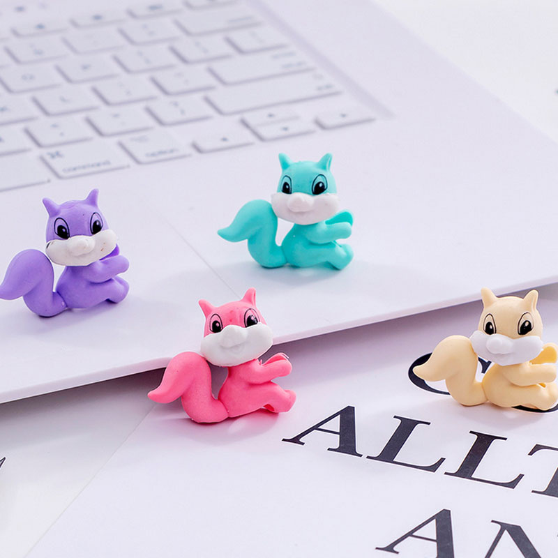4pcs/lot Colored squirrel rubber eraser School Stationery Supplies Prize Gifts For Promotion school office supplies