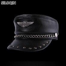 SILOQIN chapeau en cuir véritable unisexe   Élégant chapeaux militaires en cuir de vache, casquettes Hip-hop de personnalité hommes femmes, casquette à rabat, casquette plate