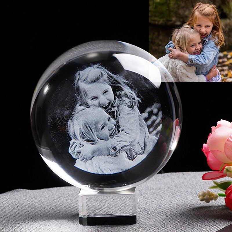Marco de fotos de cristal personalizado Globo de Cristal personalizado grabado con láser recuerdo de Marco de fotos de boda