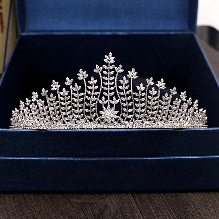 Repleto de circonita Tiara Novia diadema de corona Mariage accesorios Para el...