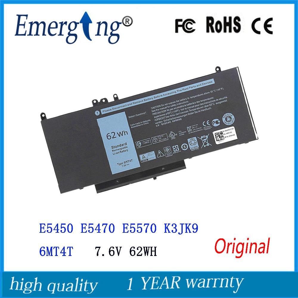 7.6 v 62WH Nieuwe Originele Laptop Batterij voor Dell Latitude E5450 E5470 E5570 K3JK9 6MT4T