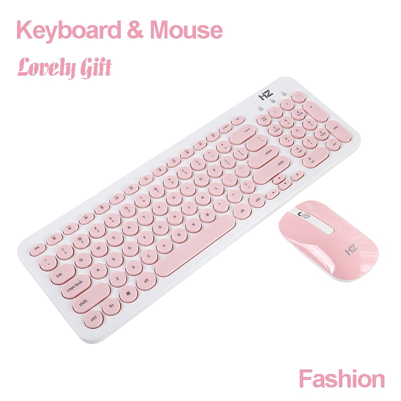 Teclado de ratón inalámbrico para ordenador portátil elegante Mini teclado portátil Combos de ratón Delgado silencioso 96 teclas Oficina señora regalo
