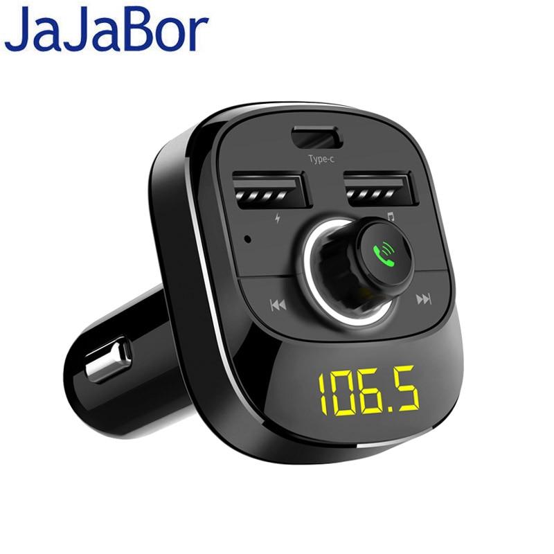 Kit de coche Bluetooth jajabor transmisor inalámbrico de FM manos libres A2DP reproducción de música tipo-c carga Compatibilidad de puertos TF tarjeta/U disco