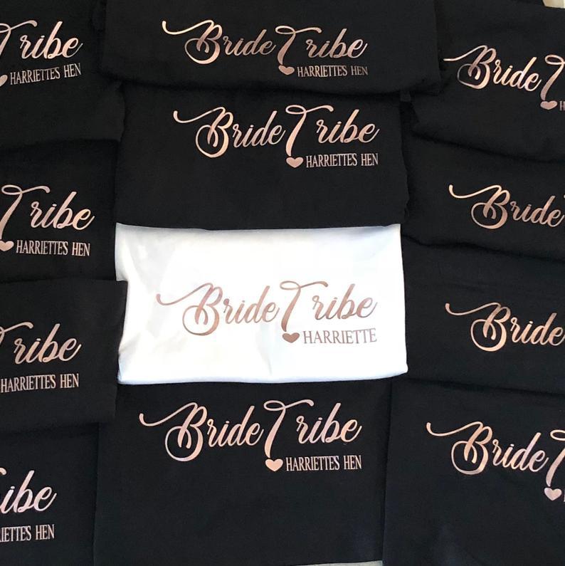 OKOUFEN despedida de soltera personalizada despedida de soltera camisetas novia tribu despedida de honor mujeres equipo Top Tee Boda nupcial camiseta