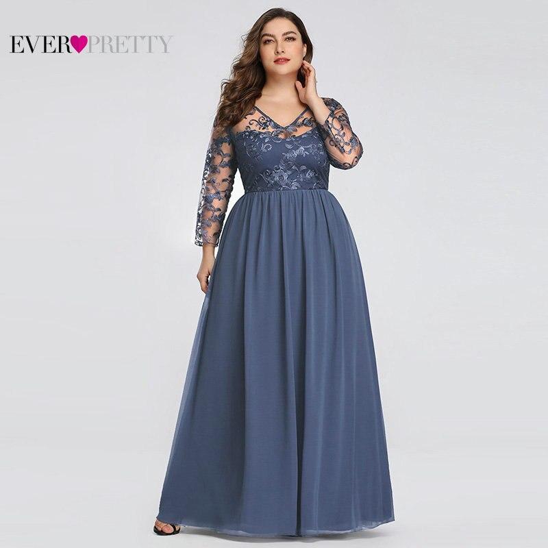 Plus Size Moeder Van De Bruid Dress Ever Pretty EZ07633 Elegante A-lijn Kant Applicaties Lange Party Gowns 2020 Vestido De madrinha