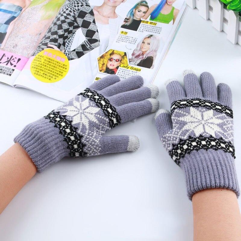 Miya Mona Warme Winter Handschuhe Bildschirm Gefühl Wolle Gestrickte Handgelenk Handschuhe Schneeflocke Voll Finger Unisex Handschuhe Fäustlinge für Frauen Männer