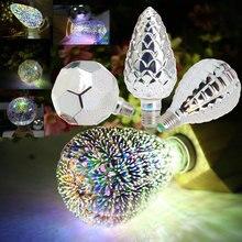 Verre plaqué argent E27 3D décoration ampoule 4 W 110 V 220 V lumière LED lumières de vacances ST64 G95 A60 G80 G125 nouveauté lampe de noël