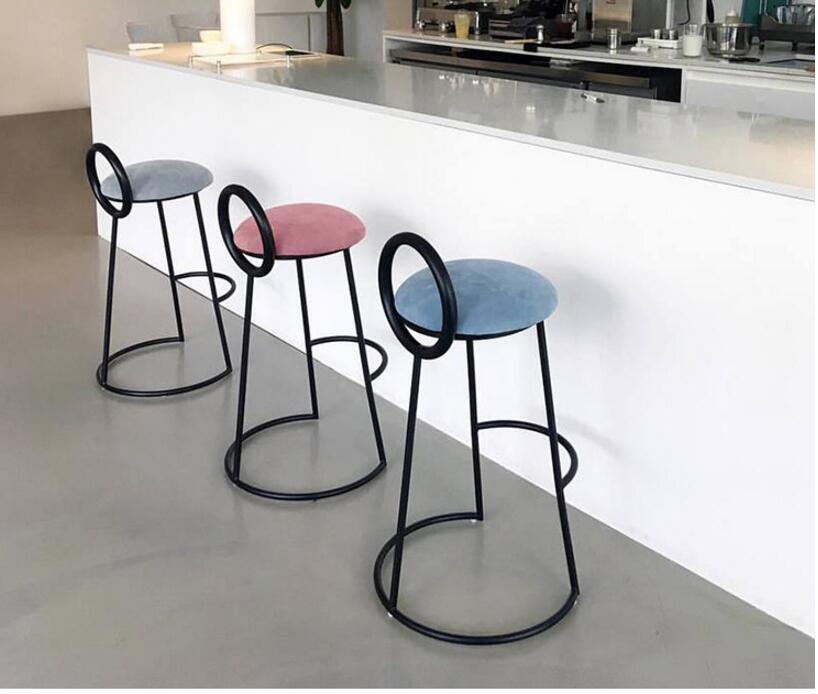 Фото - Железный художественный барный стул, скандинавский передний стол, высокий ножной барный стул, молочный чай, кафе, стул, корейский барный сту... [магазин сша] кованый железный стеклянный высокий барный стол патио барный стол черный
