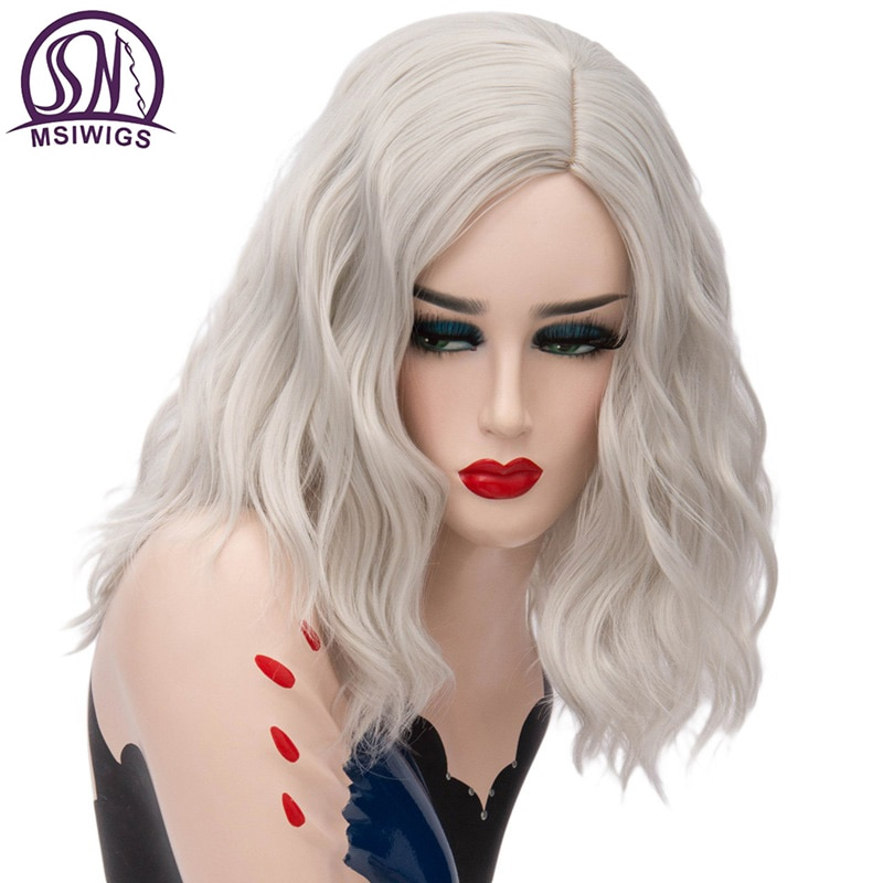 AliExpress - MSIWIGS Woman Short Silver White Synthetic Wigs for Women Heat Resistant Cosplay Hair Pink Blonde Wig