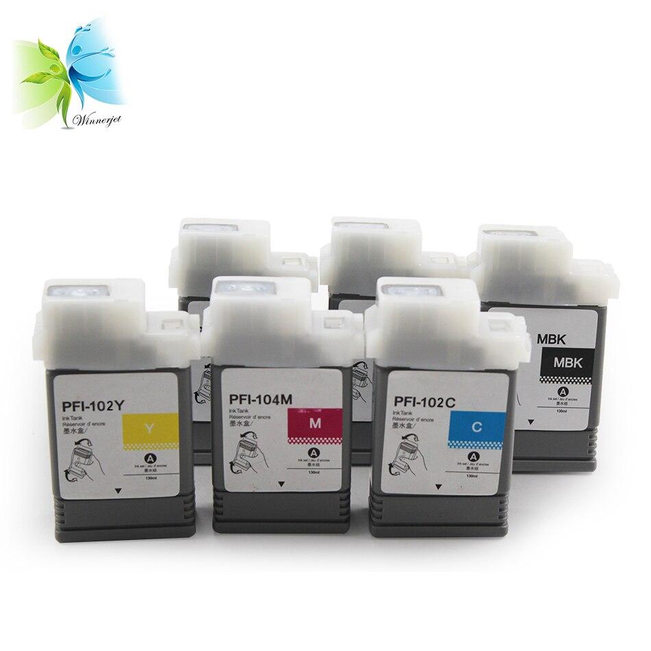WINNERJET PFI102 совместимый чернильный картридж с чернилами и чернилами Pigmnet для принтера Canon IPF650 655 750 755 760 765