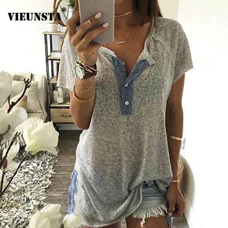 Blusa de cuello redondo para mujer de VIEUNSTA, camisa suelta de verano 2019, informal, de retazos, de manga corta, Tops de oficina, Túnica Sexy, Blusa de playa 5XL