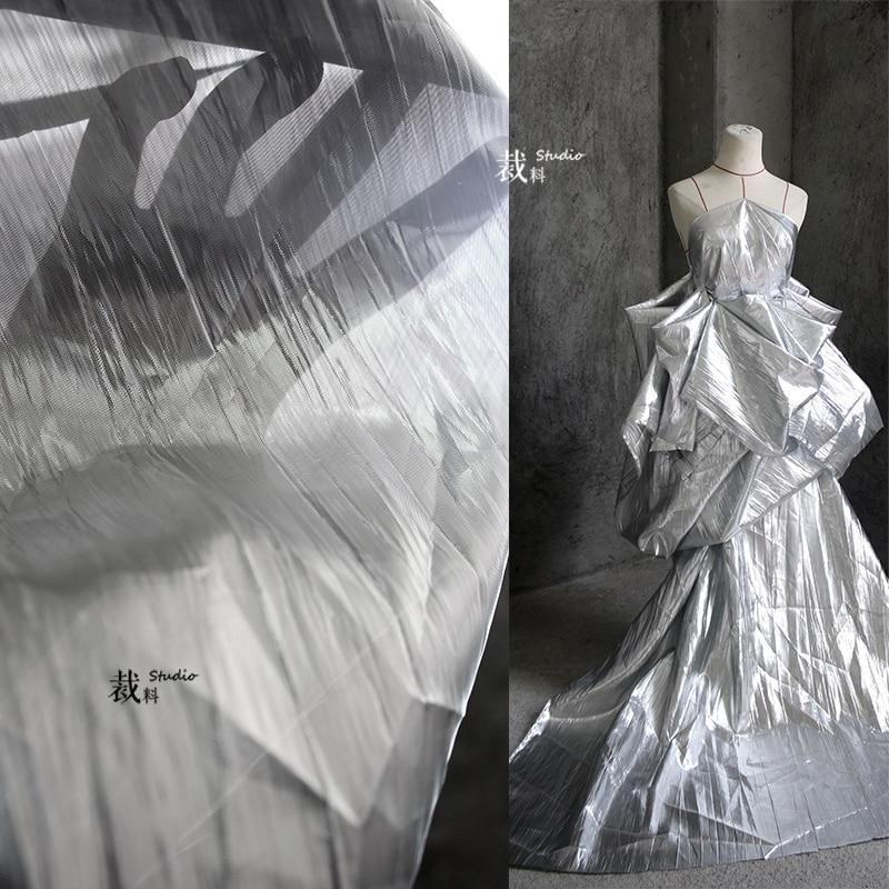 Nórdico de alto grado de rasgado hilado de plata plisado paño abajo chaqueta de diseñador de tela para patchwork telas algodon