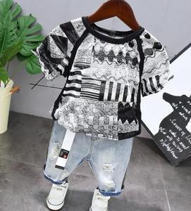 2020 New Summer boy Cutout Breathable Short Sleeve T-Shirt + shorts jeans 2pcs Suit Boys Clothing Sets Children Clothing 2-6year