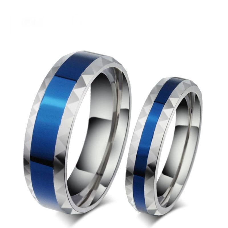 316L кольца на палец из нержавеющей стали, мужские обручальные ювелирные изделия, синие женские кольца для возлюбленной нержавеющей стали 4 м...