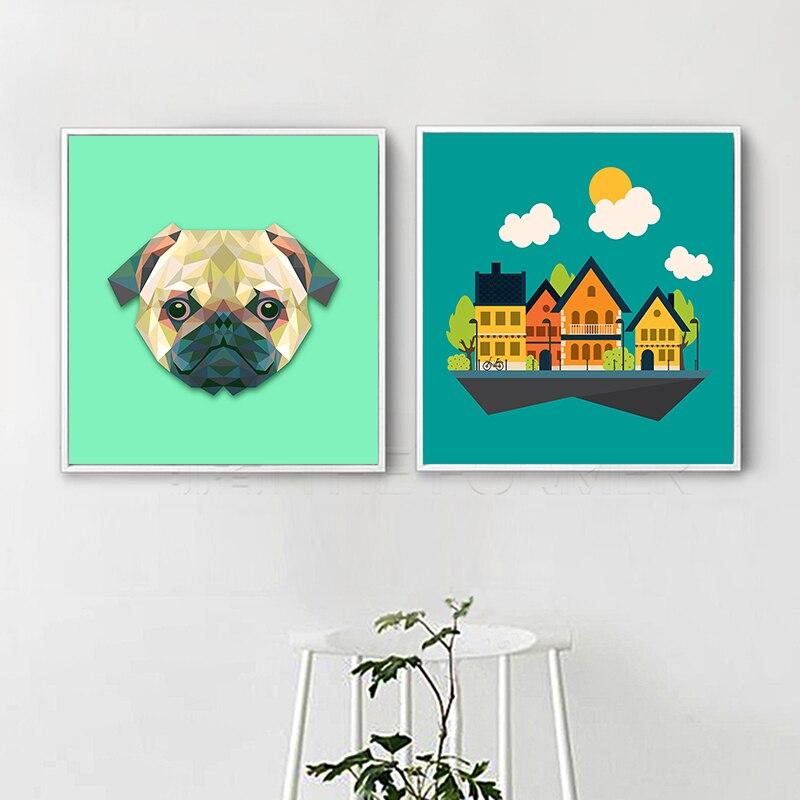 Cuadro moderno con diseño geométrico de cabeza de perro Pug, lienzo artístico para pared, impresión en lienzo, cuadros para sala de estar, decoración de pared, regalos colgantes