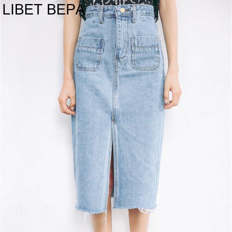 New 2018 Women Midi Casual Fashion Denim Skirt High Waist Pockets Pencil Split Skirt Elegant Bodycon Femininas SK8171