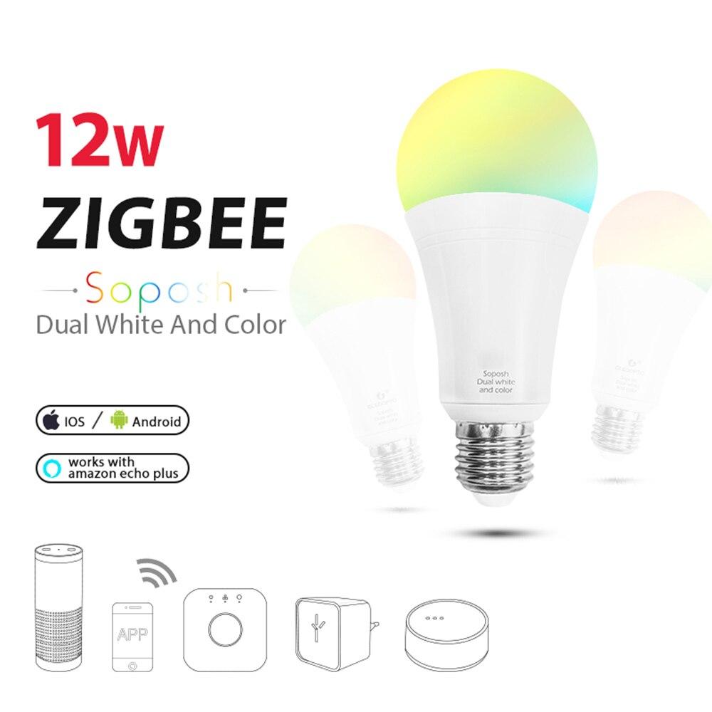 LED ZIGBEE hub E27 12W dual white dimmer bulb RGB RGB+CCT E26 LED bulb AC100-240V dimmable  lamp RGBW RGBWW work with Alexa plus