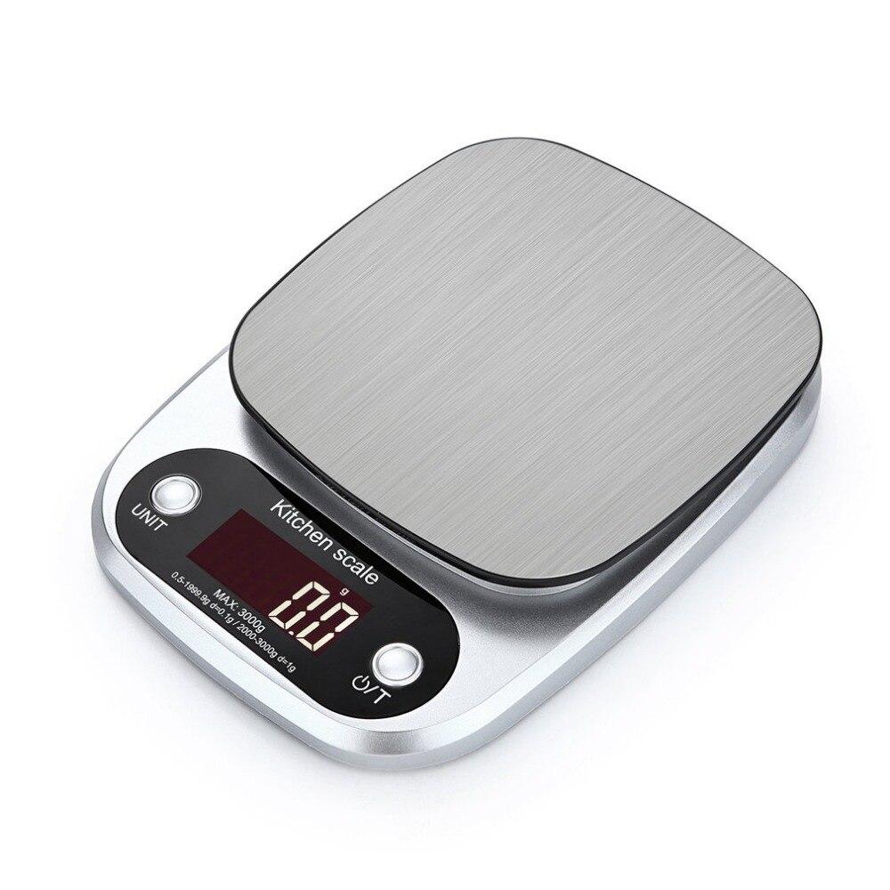 Báscula electrónica portátil de acero inoxidable con pantalla LCD de 10kg x 1g para alimentos báscula Digital de peso para cocina precisa HT-C305