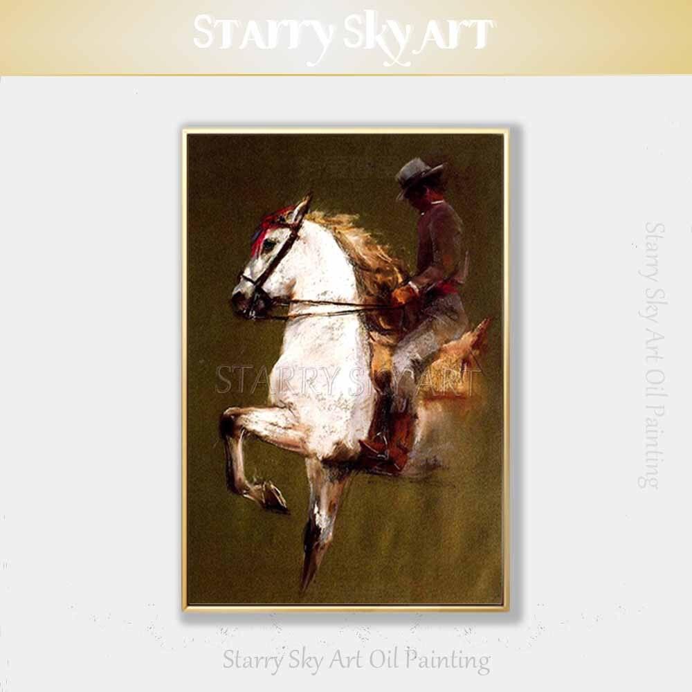 Pintados à mão-de Alta Qualidade Cowboy Bonito Cowboy Equitação Homem Retrato da Pintura A Óleo sobre Tela Pintura A Óleo para Sala de estar quarto
