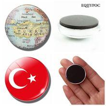 Turkey Flag 30 MM Fridge Magnet Turkey Map Ankara Aegean Sea Glass Dome Magnetic Refrigerator Stickers Note Holder Home Decor