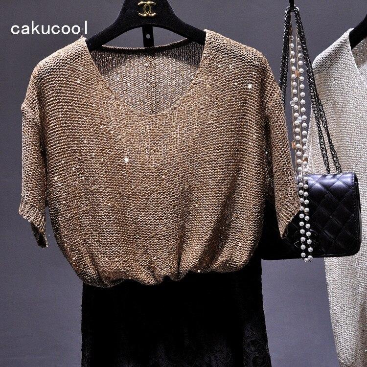 Cakucool-Camiseta de punto de lentejuelas para mujer, camisetas de manga corta con...