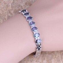 Süße Regenbogen Zirkonia Silber Überzogene Link Kette Armband 7 zoll S0514
