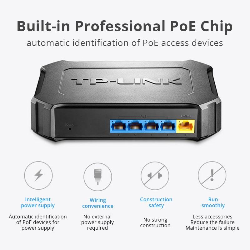 Interruptor Poe de TP-LINK de 5 puertos de 10/100Mbps con interruptor de red Ethernet de 4 puertos TL-SF1005SP Plug and play de escritorio rápido dúplex