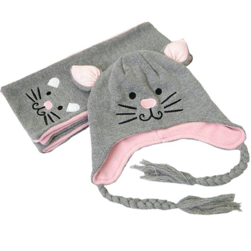 2 unids/set niñas niños conjunto sombreros bufandas 1-5 años lindo gato niños bebé gorros de invierno capó Enfant muts para bebés KF087