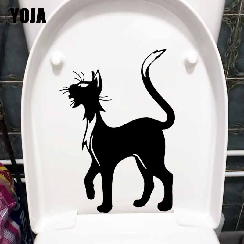 YOJA 17,6X24,8 CM divertido WC aseo etiqueta Sexy gato de dibujos animados dormitorio casa pared decoración T5-0048