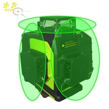 Nivel láser giratorio muli 3D de 12 líneas, línea de haz láser verde o rojo, superpotente, resistente al agua, nivel de láser anticaída
