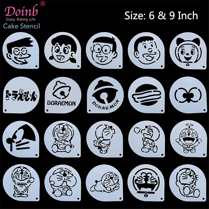 6Inch Cartoon Anime Character Doraemon Dorami Cake Stencil Plastic Pad Mold Flower Strew Duster Cupcake Fondant Baking Moulds