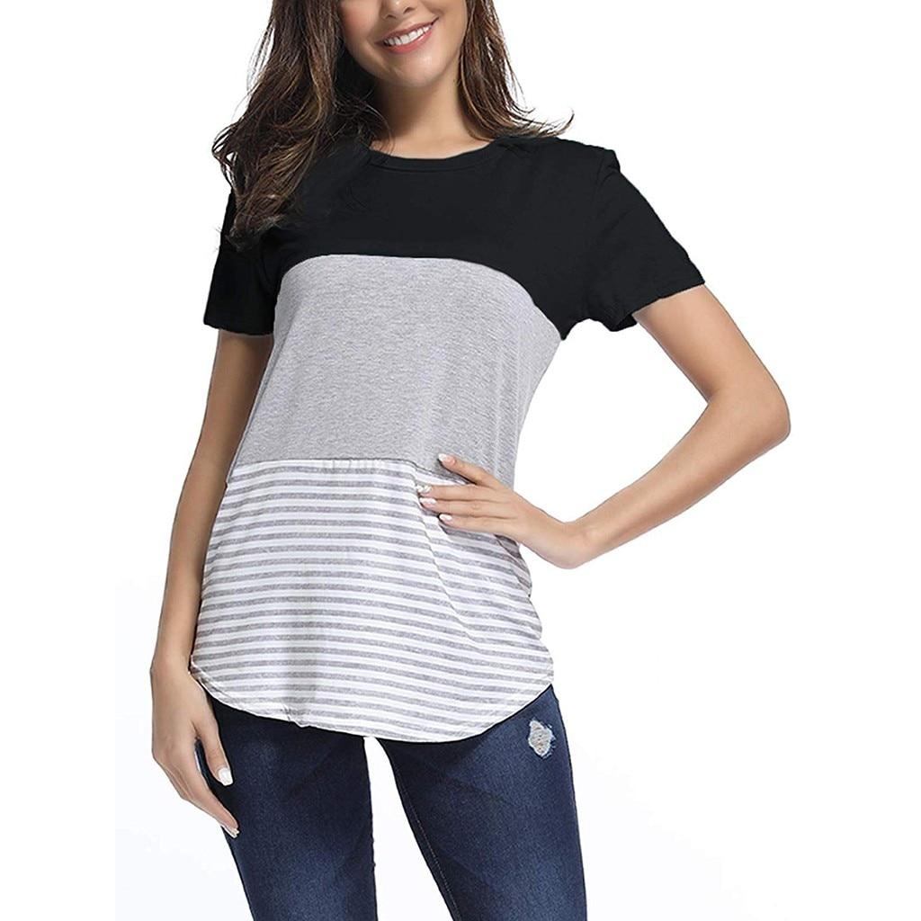 FREE OSTRICH Women Shirts Casual Short Sleeve Top Triple Color Block Stripe Shirt Tunics Blouse Tops Blouse New Women Shirts