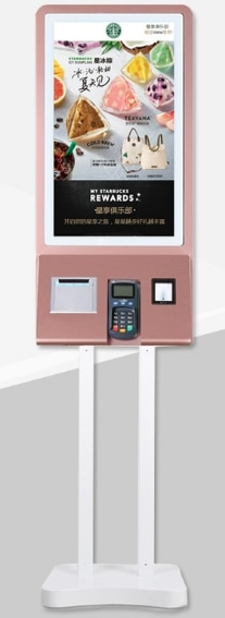 كشك الدفع في المطاعم مزود بنظام الخدمة الذاتية مع الطابعة واللافتات الرقمية التفاعلية التي تعمل باللمس مقاس 32 بوصة