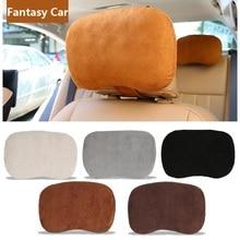 Suede Car Neck Protect Pillow Memory Cotton Comfortable Auto Headrest for BMW Mini Cooper Benz Audi Black Brown Gray Beige