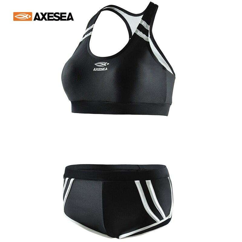 AXESEA женский спортивный купальник, укороченный купальник бикини для фитнеса и йоги, Раздельный купальник для мальчиков, купальник для волейбола Комбинезоны      АлиЭкспресс