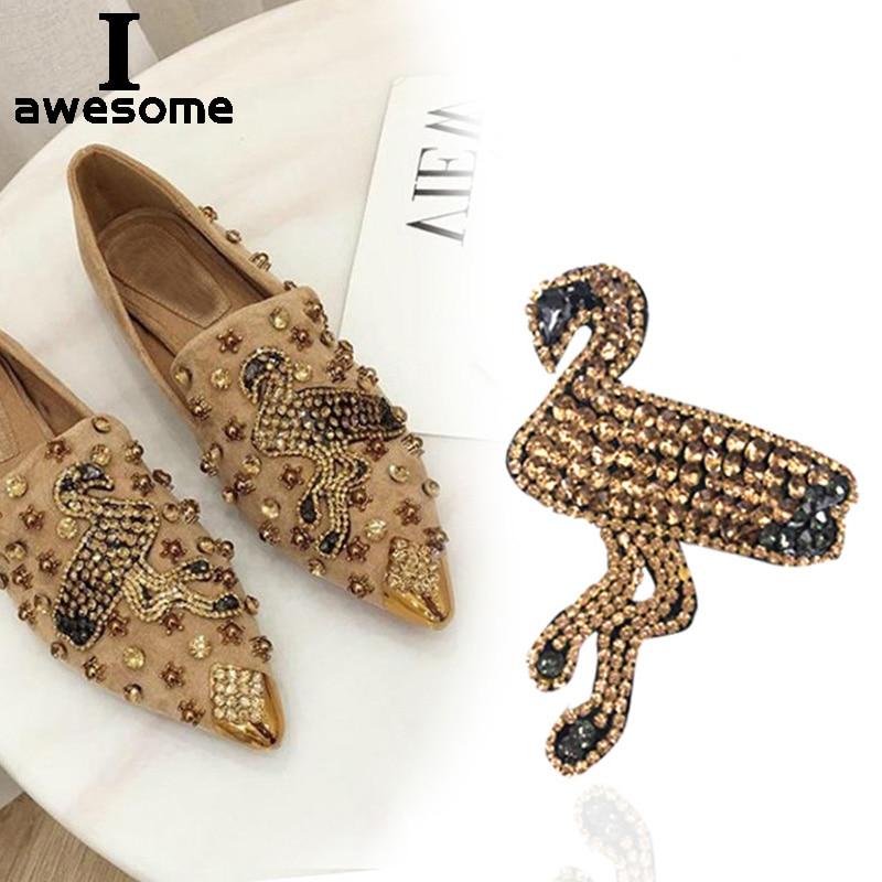 1 шт. Золотой Фламинго свадебные аксессуары для свадебной вечеринки обувь на высоком каблуке обувь «сделай сам» инструкция стразы украшени...