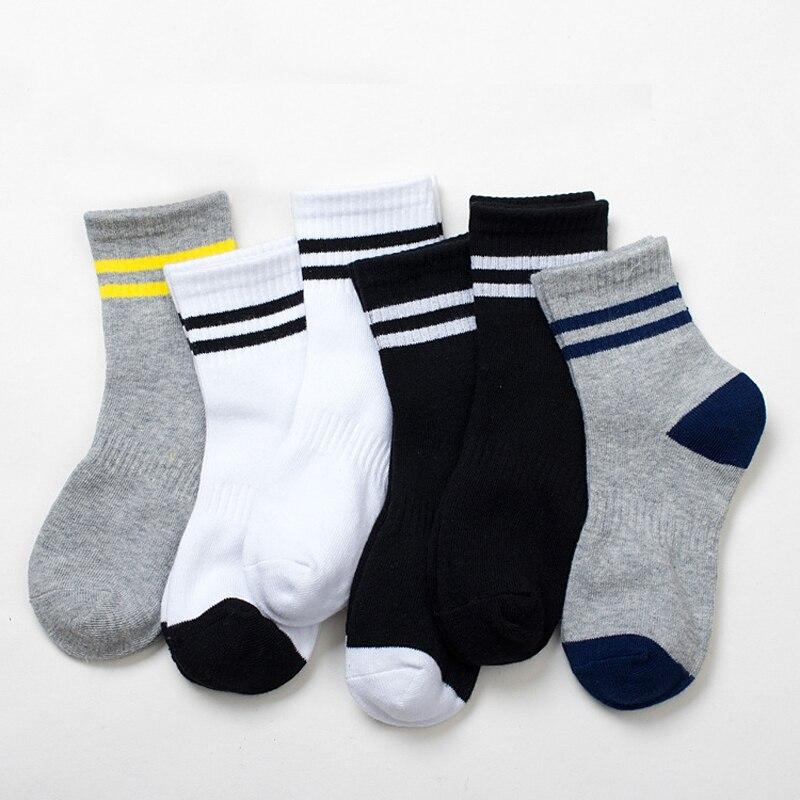 5 paare/los Kinder Socken Frühling & Herbst Streifen Hohe Qualität Baumwolle Marke student Kinder Socken 4-12 Jahre Baby jungen Socken