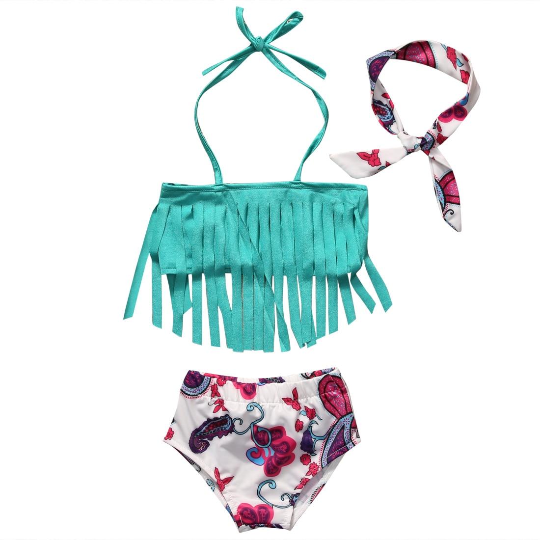 Bikini Citgeett para niños pequeños, Tankini, borla azul, Tops, pantalones cortos, traje de baño, conjunto de traje de baño, ropa de playa de verano SS