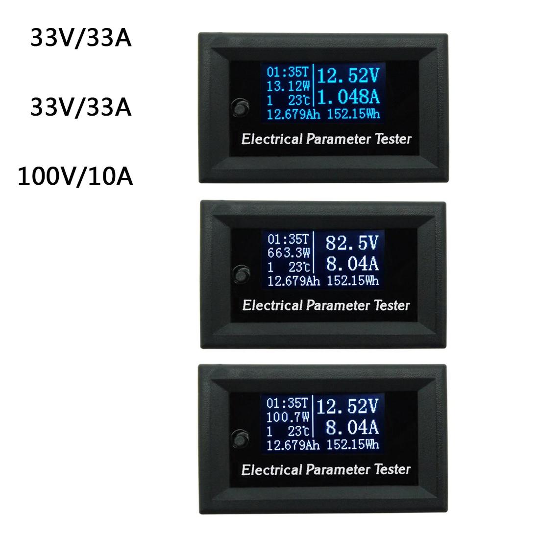 Medidor multifunción 7in1 OLED LCD 33v 3A voltaje corriente tiempo capacidad voltímetro amperímetro medidor eléctrico azul