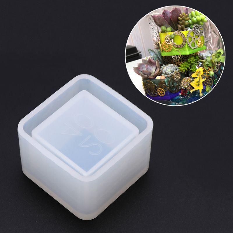 Caja cuadrada de almacenamiento de moldes de silicona para macetas, DIY, hecha a mano, artesanías, molde epoxi de cristal, resina epoxi para fabricación de joyas