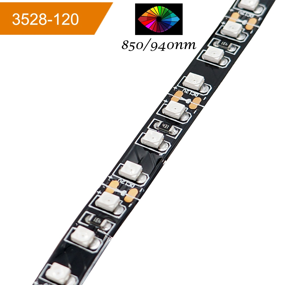 VEENY InfraRed 850nm Flexible LED Strips 120LEDs 9.6w/m 8mm-wide Infrared LED Light Supplement Strip Light for Security Cameras