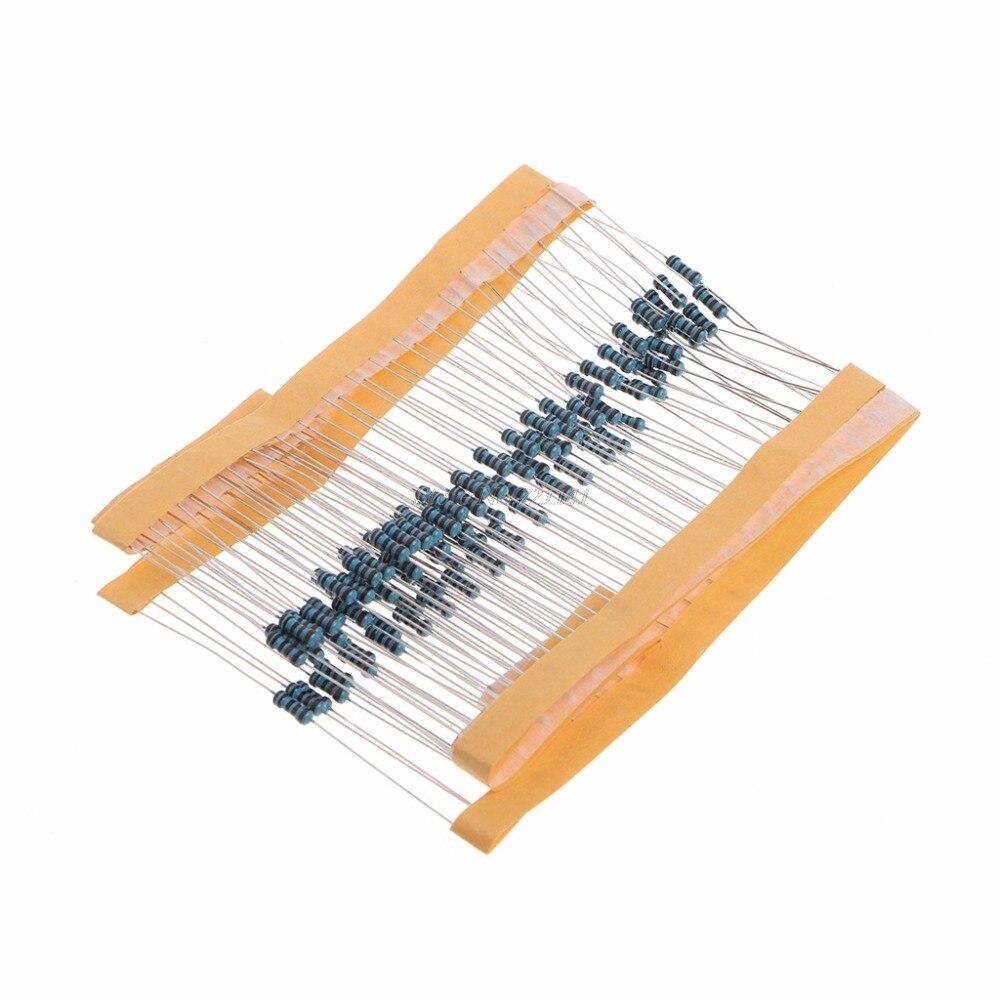 100 pçs 1k ohm 1/4 w resistência de filme de metal 1kohm 0.25 w 1% resistores de filme de metal dropship