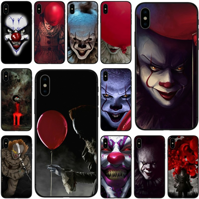 The Clown Horror IT Cover Soft Silicone black TPU Phone Case For iPhone 5 5C 5S SE 6 6plus 7 7plus 8 8plus X XS XR XS Max