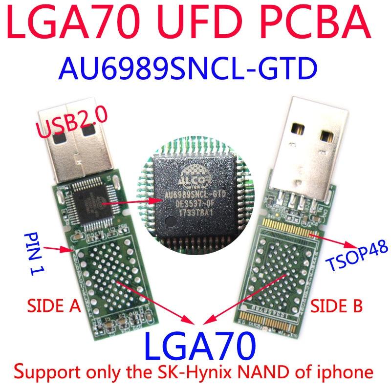 ¿DIY UFD Kits AU6989SNCL-GTD USB FLASH DRIVE PCBA... LGA70 almohadillas sólo para Sk hynix NAND FLASH de iPhone 6S/6P HDD? USB2.0... ENAND